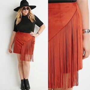 NWT Burnt Orange Faux Suede Fringe Mini Skirt- 2X